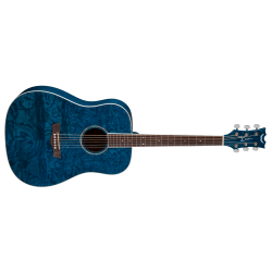 AXDQATBL - AXS Dread Quilt Ash Akustik Gitar - Trans Blue